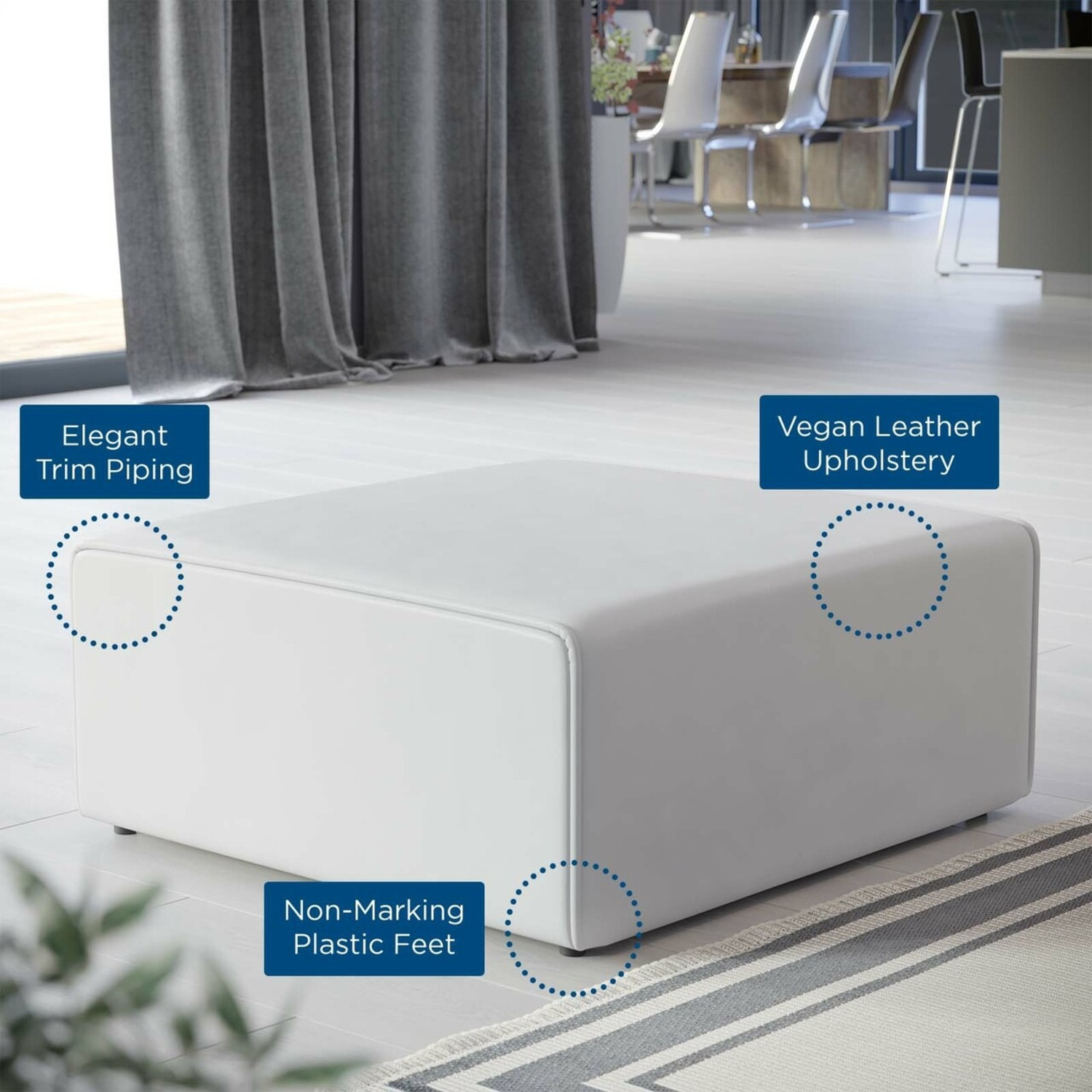 Ottoman In White Vegan Leather Upholstery - image-5
