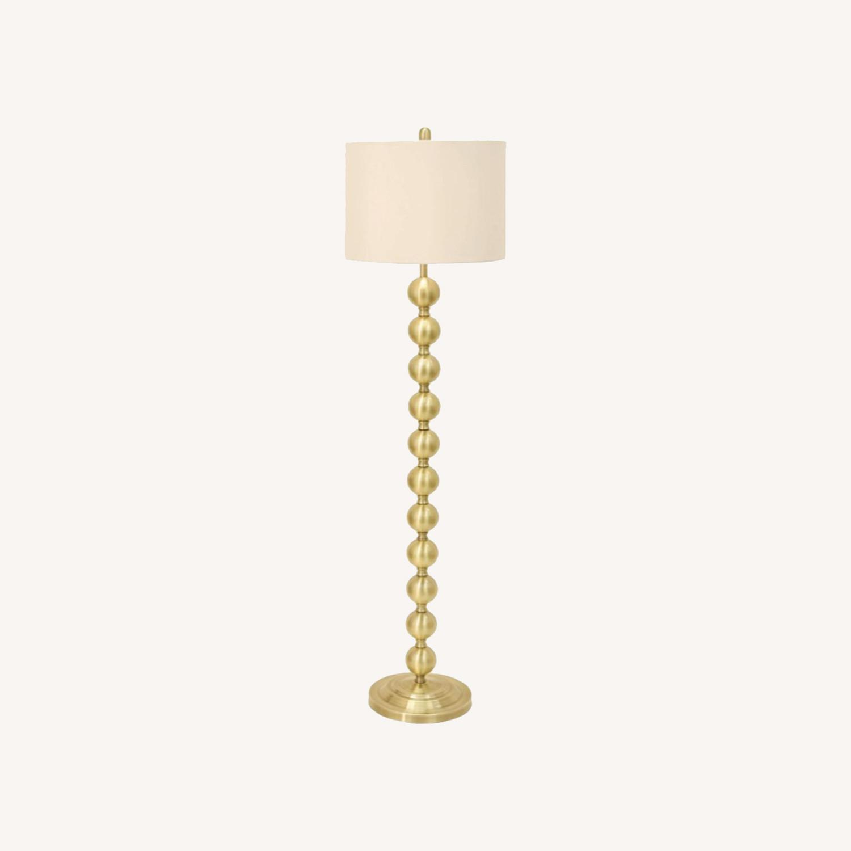 Mid Century Modern Chic Steel Floor Lamp in Brass - image-0