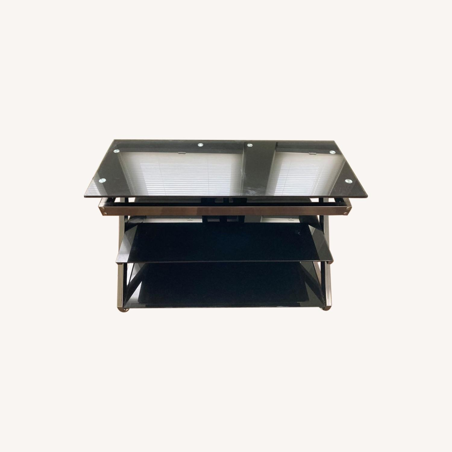 Black Glass Metal Frame TV Console Stand - image-0