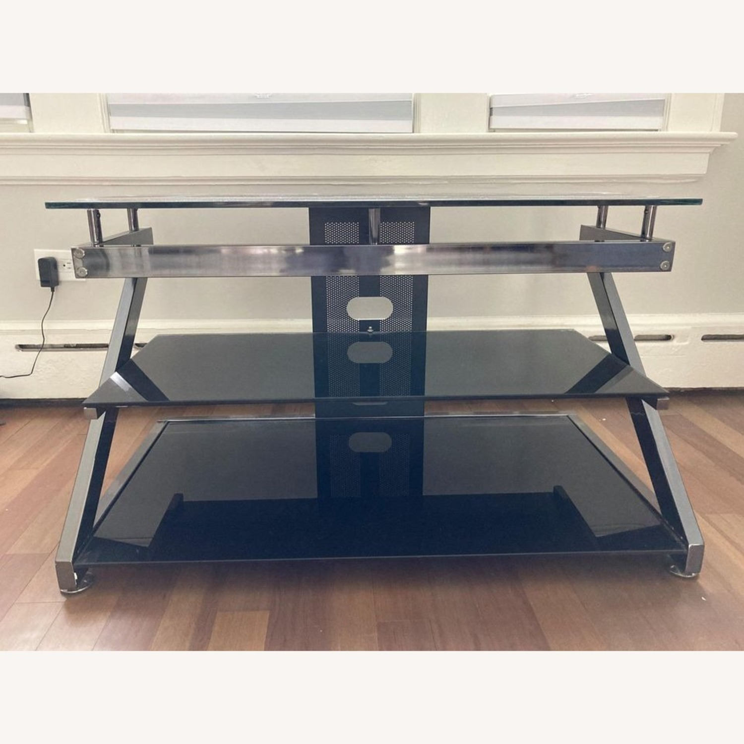 Black Glass Metal Frame TV Console Stand - image-3