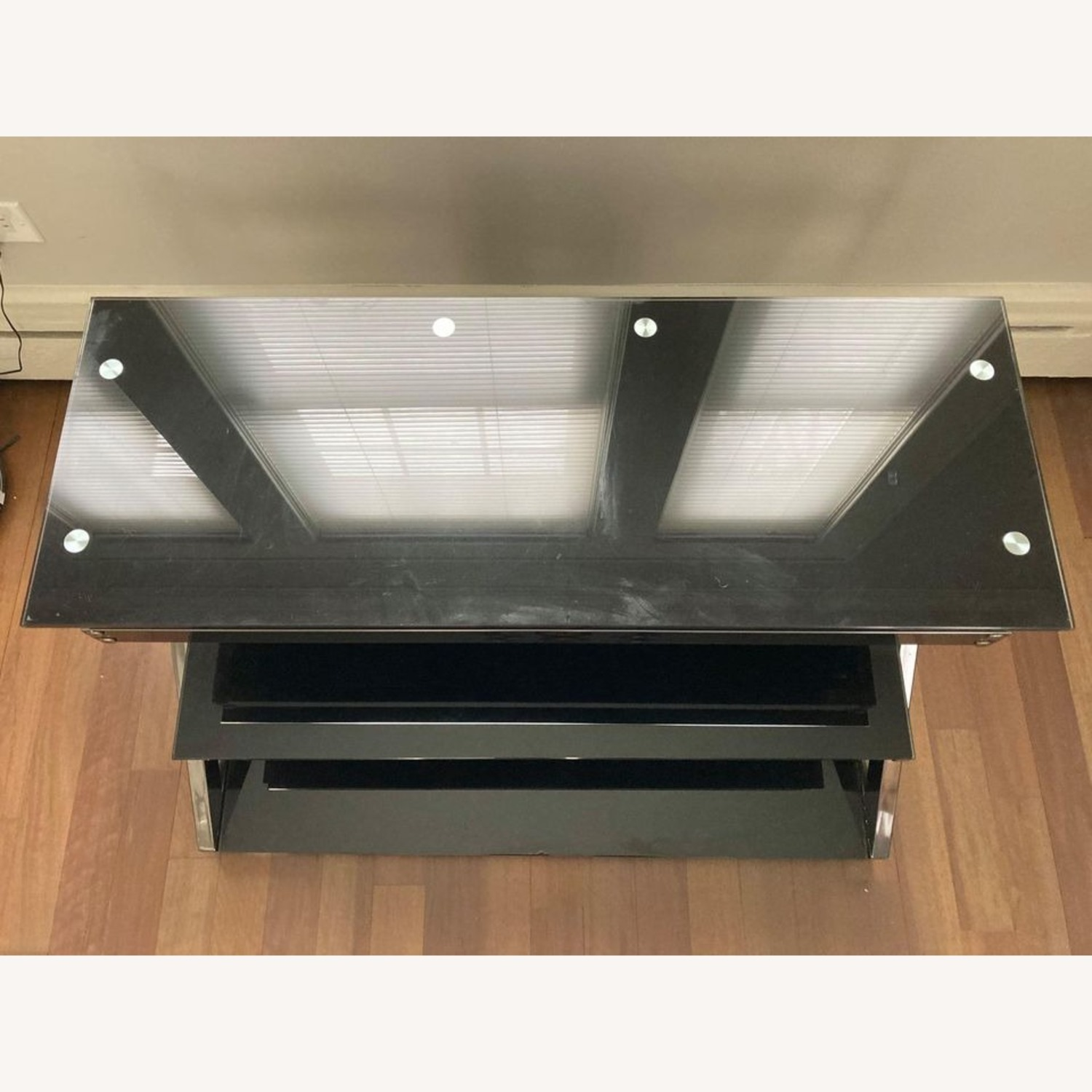 Black Glass Metal Frame TV Console Stand - image-6
