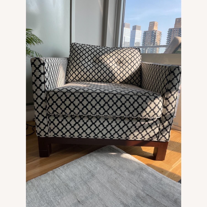 Pottery Barn Upholstered Black/White Armchair - image-9