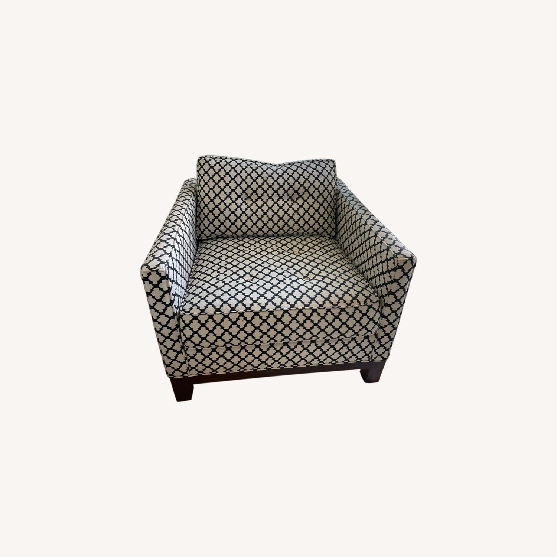 Pottery Barn Upholstered Black/White Armchair - image-0