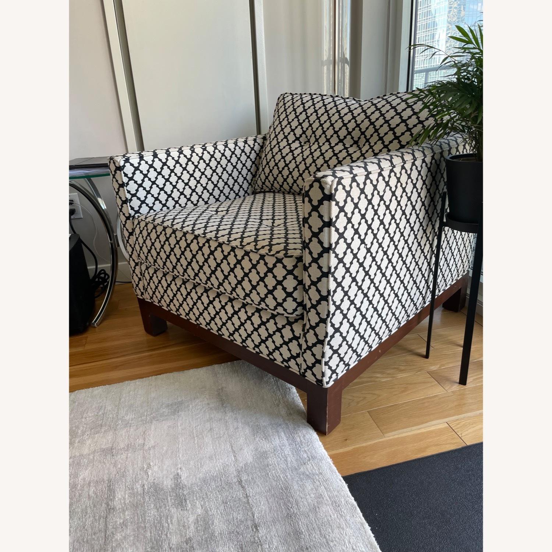 Pottery Barn Upholstered Black/White Armchair - image-3