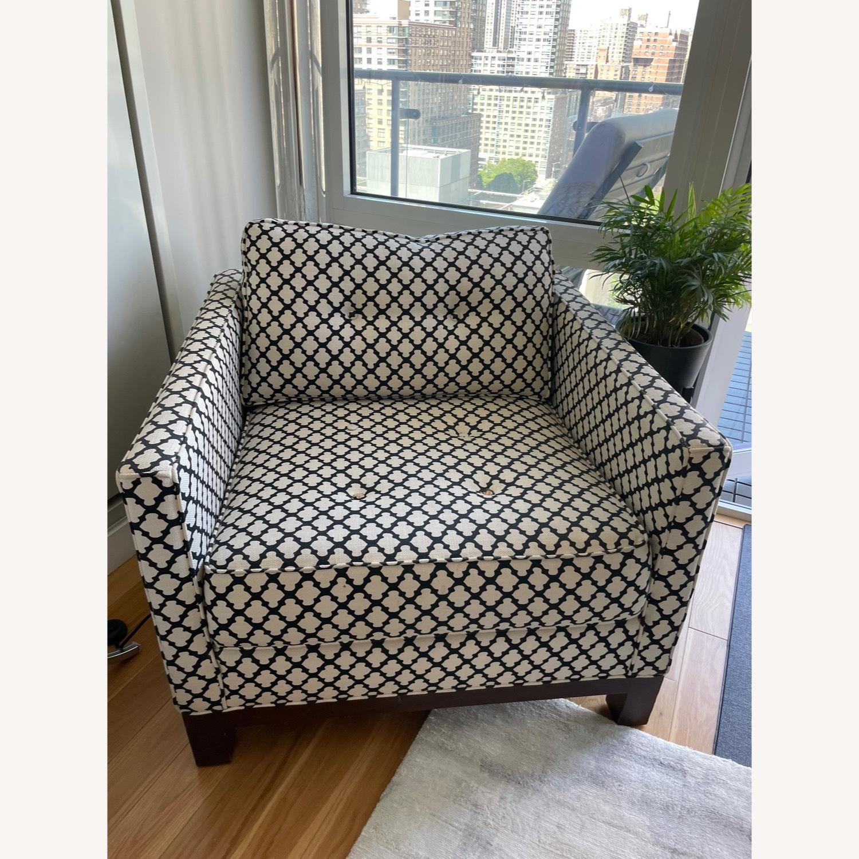 Pottery Barn Upholstered Black/White Armchair - image-1