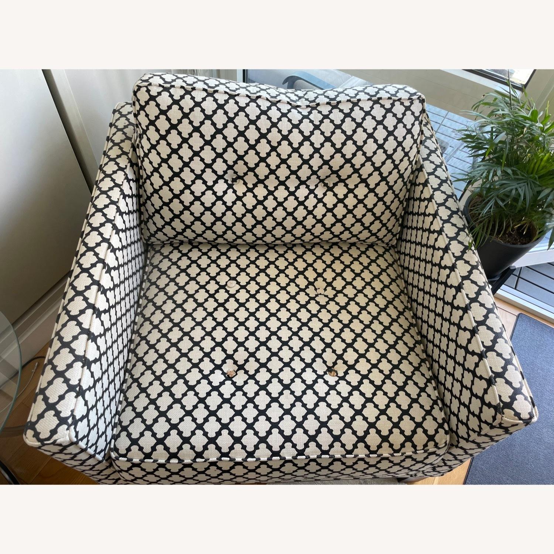 Pottery Barn Upholstered Black/White Armchair - image-4