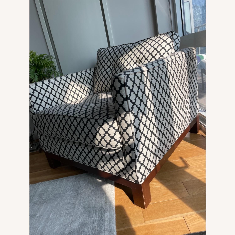 Pottery Barn Upholstered Black/White Armchair - image-11