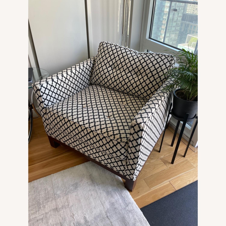 Pottery Barn Upholstered Black/White Armchair - image-2