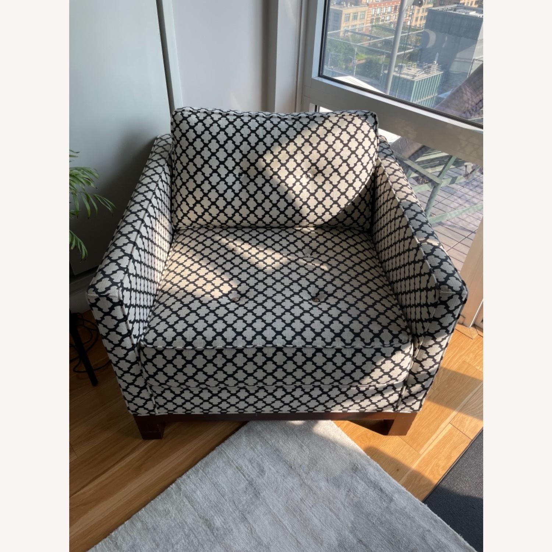 Pottery Barn Upholstered Black/White Armchair - image-10