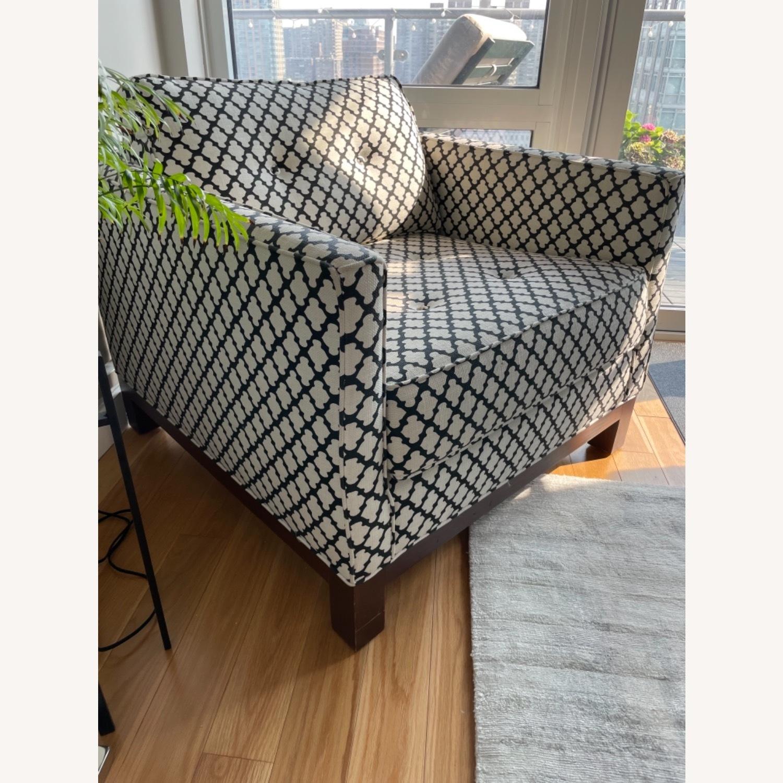 Pottery Barn Upholstered Black/White Armchair - image-5