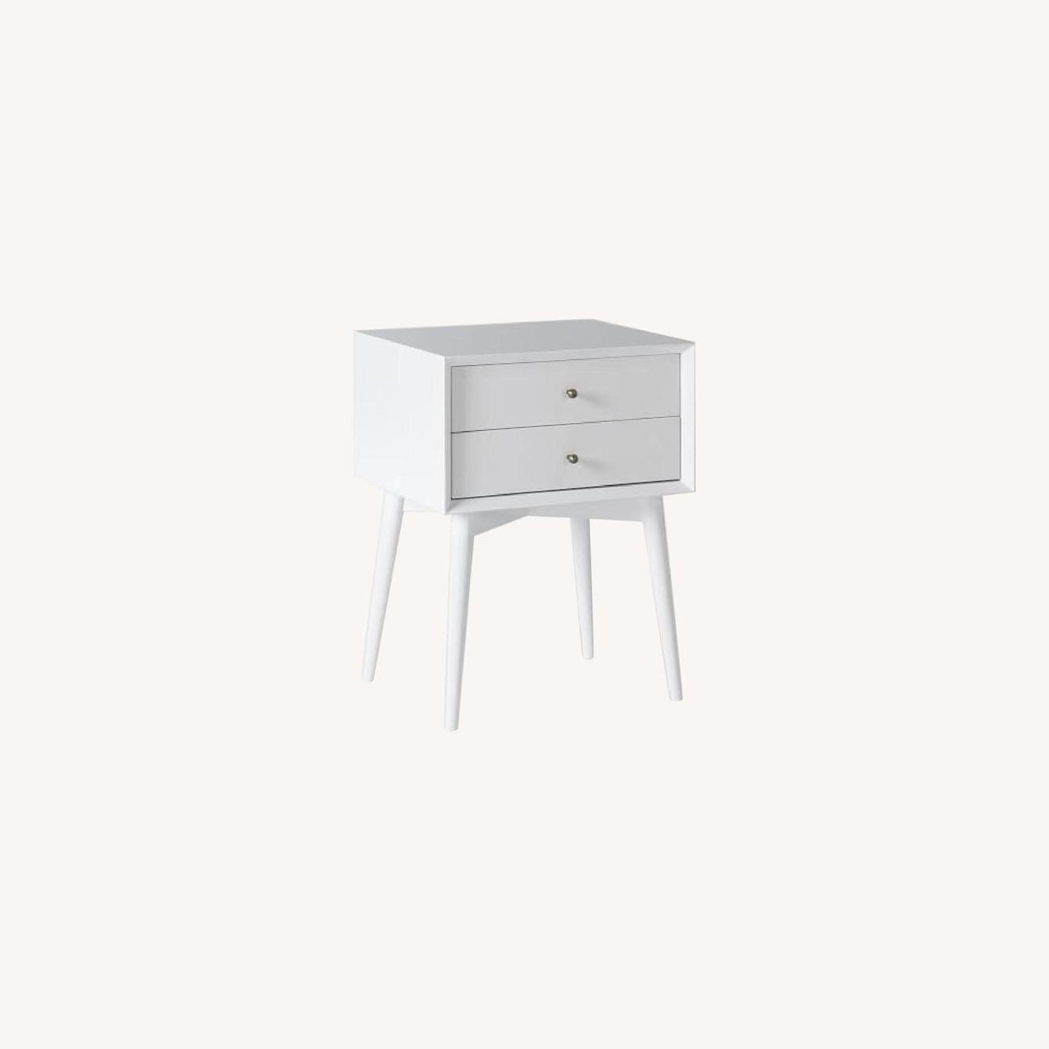 West Elm Mid-Century Nightstand, White Lacquer - image-0