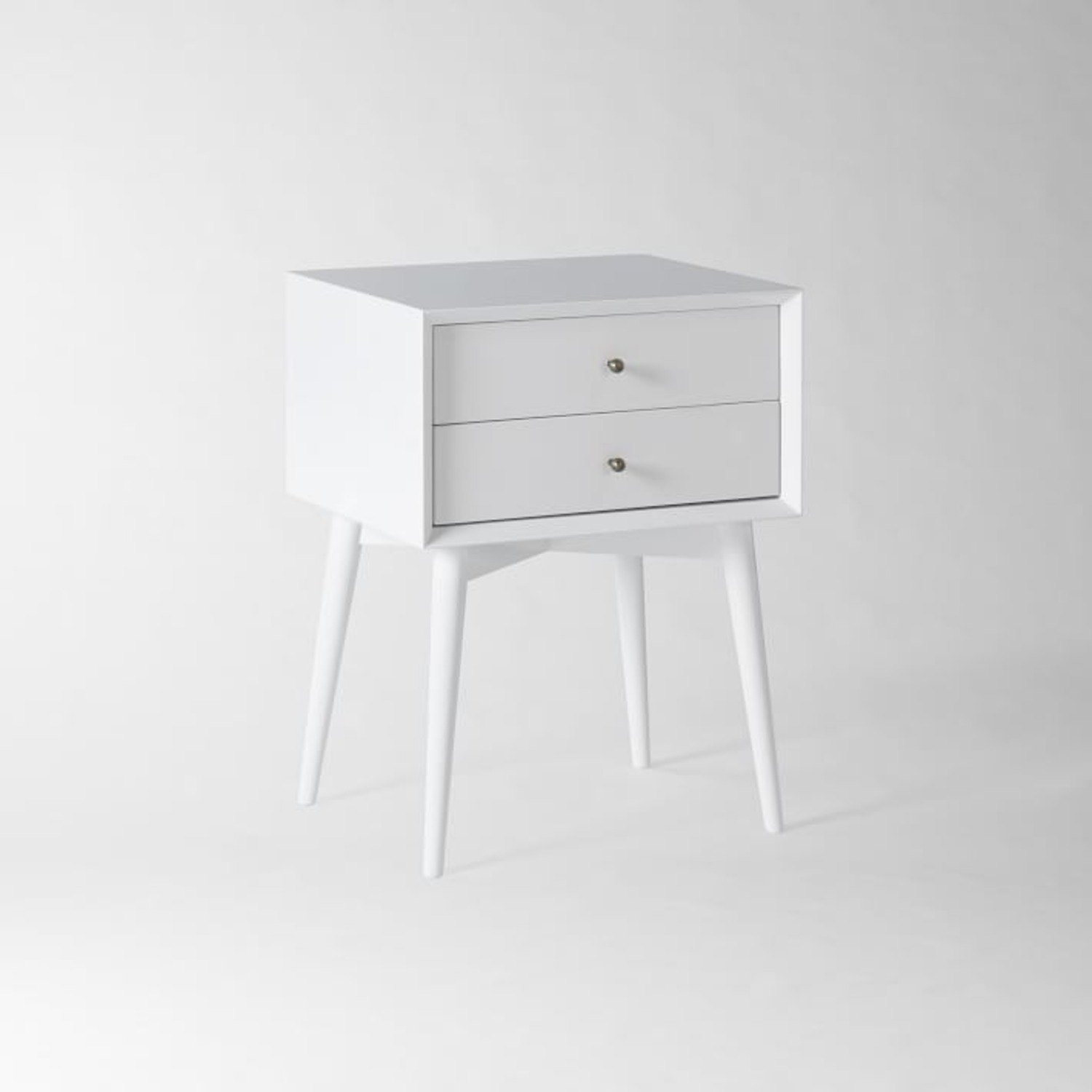 West Elm Mid-Century Nightstand, White Lacquer - image-1