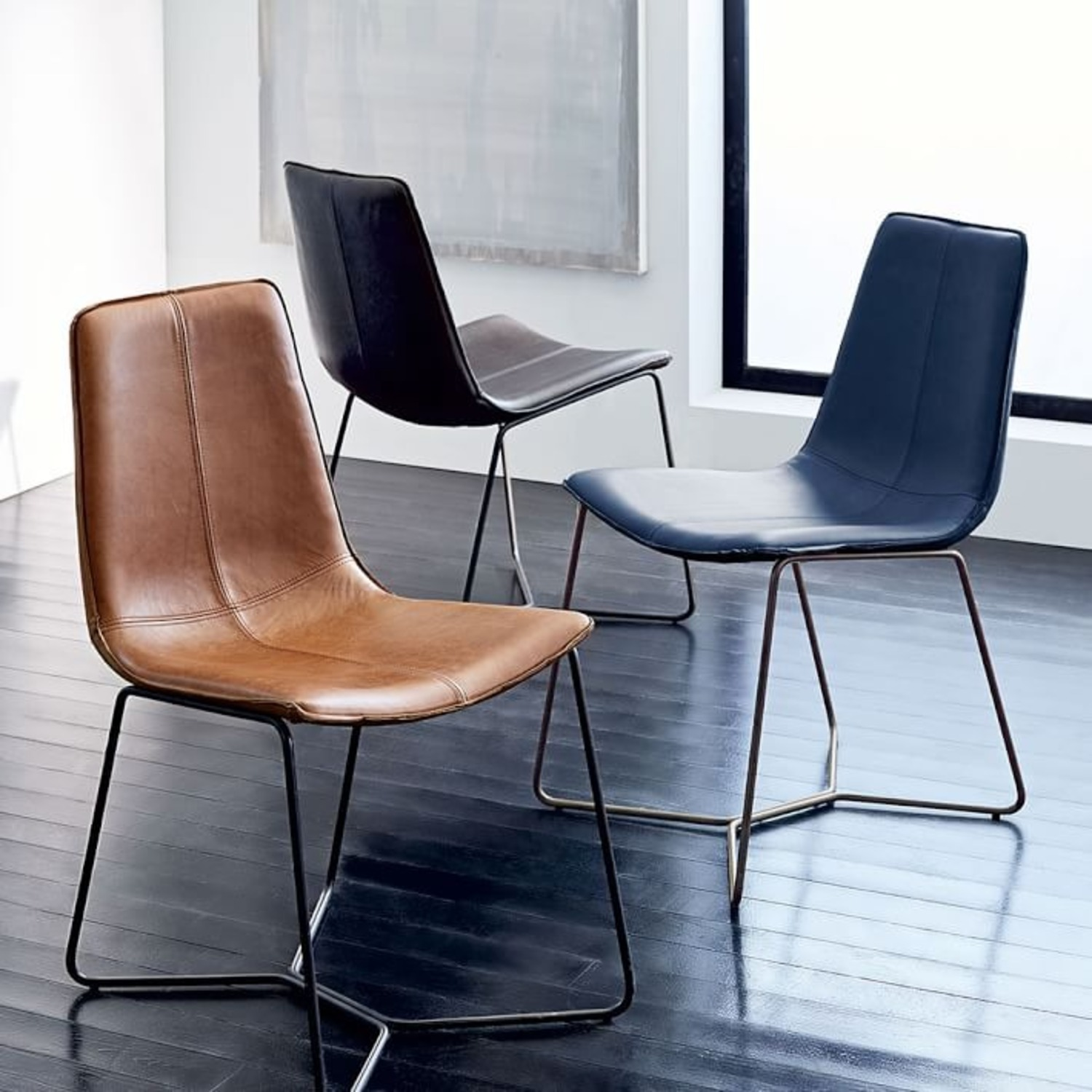 West Elm Slope Leather Dining Chair - image-3