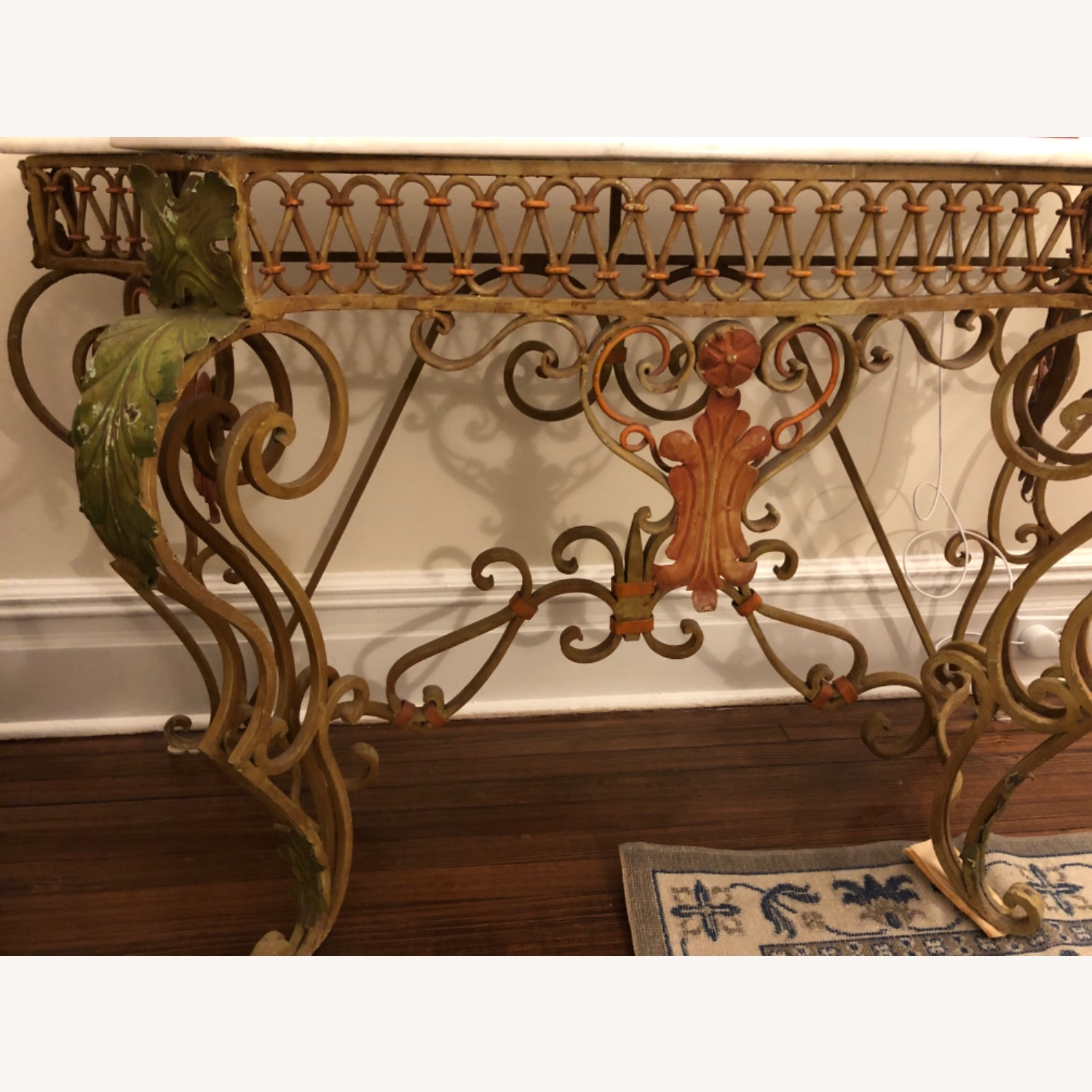French Antique Iron Table with Marble Top - image-3