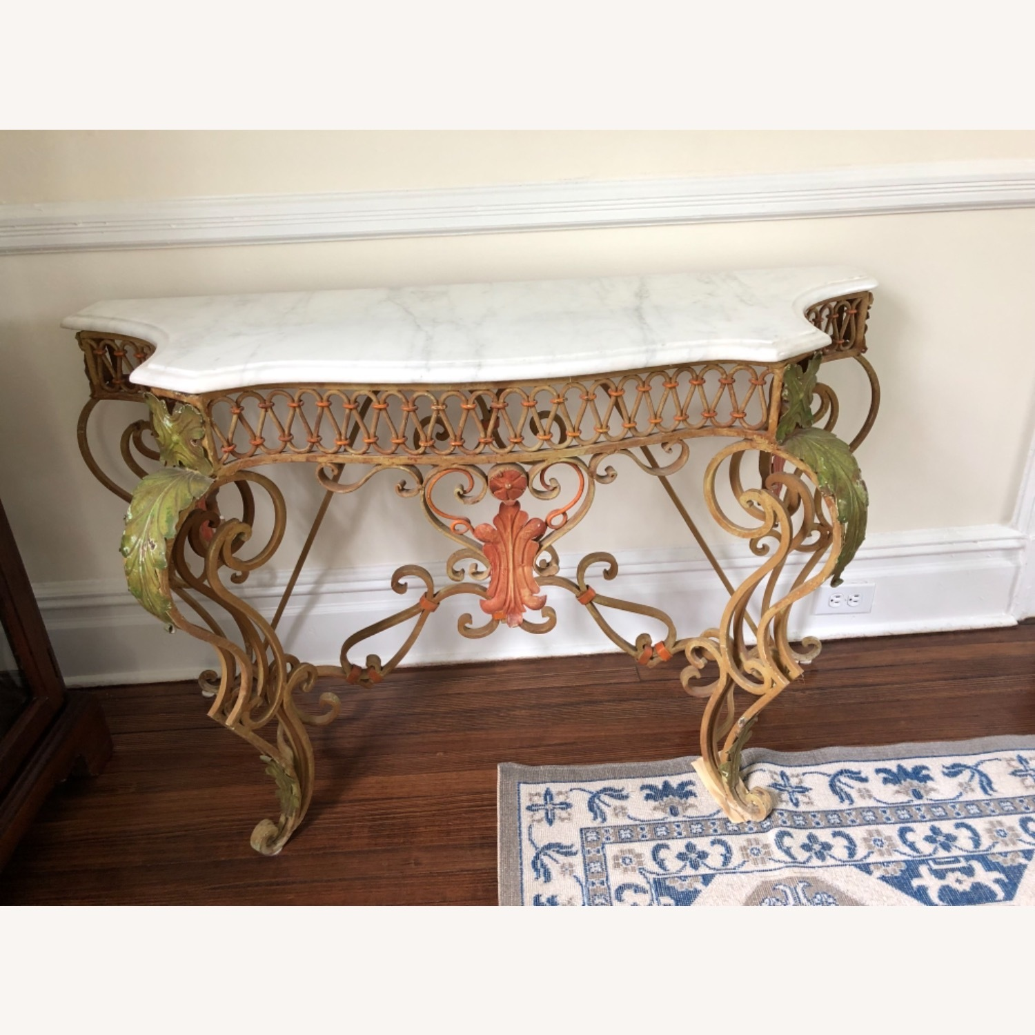 French Antique Iron Table with Marble Top - image-1