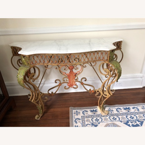 Used French Antique Iron Table with Marble Top for sale on AptDeco