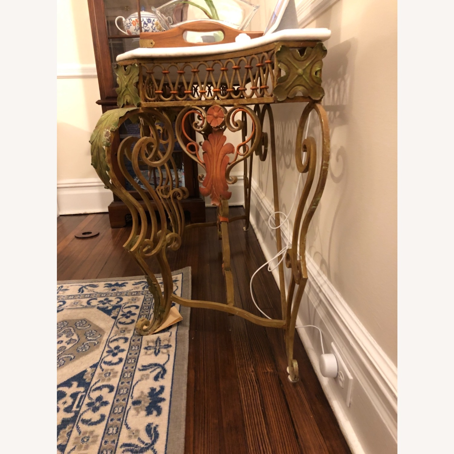 French Antique Iron Table with Marble Top - image-2