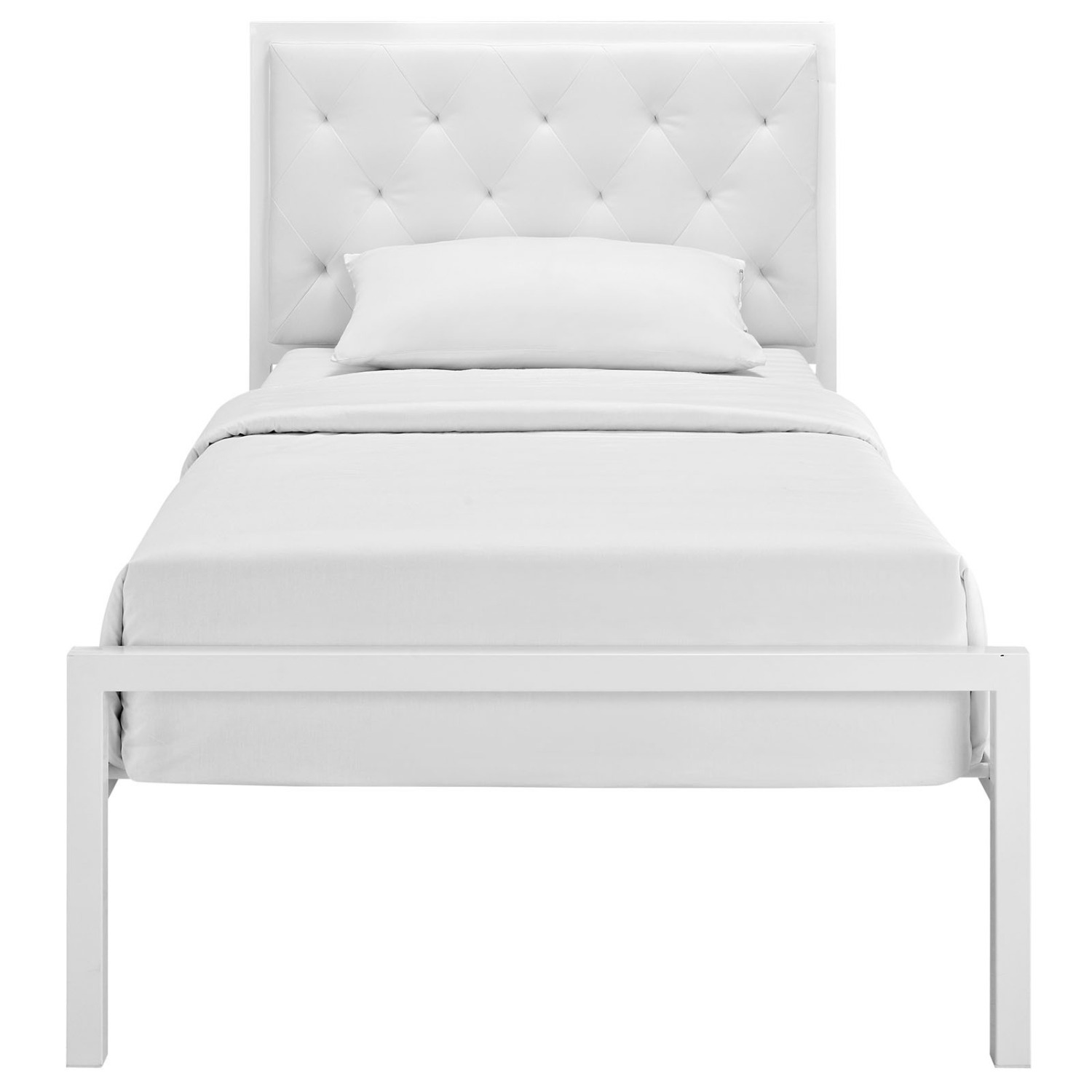 Twin Bed In White Steel Frame & Tufted Headboard - image-2