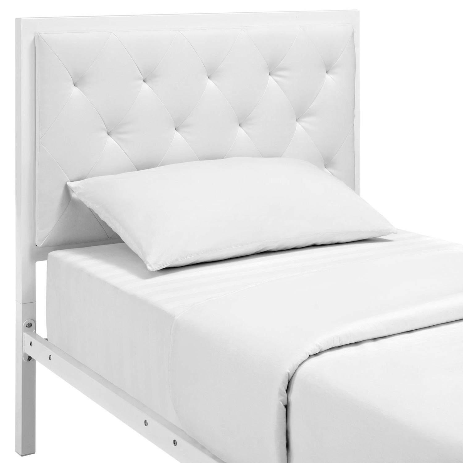 Twin Bed In White Steel Frame & Tufted Headboard - image-4