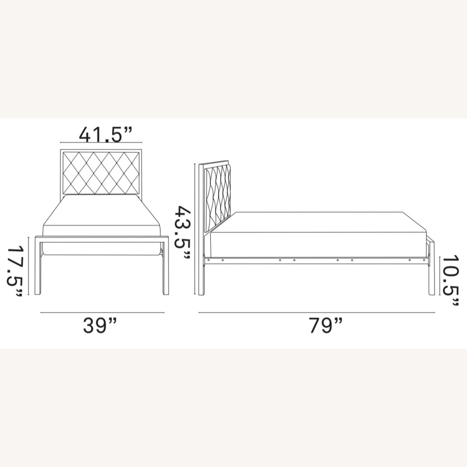 Twin Bed In White Steel Frame & Tufted Headboard - image-7