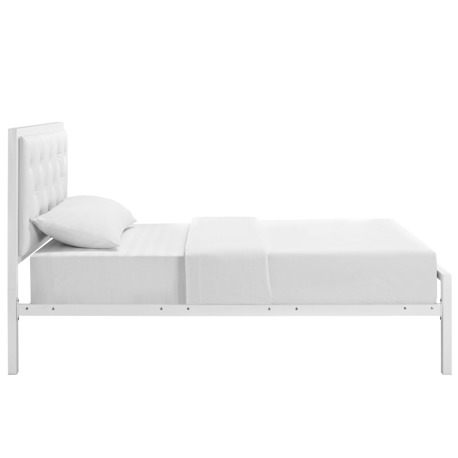 Twin Bed In White Steel Frame & Tufted Headboard - image-1