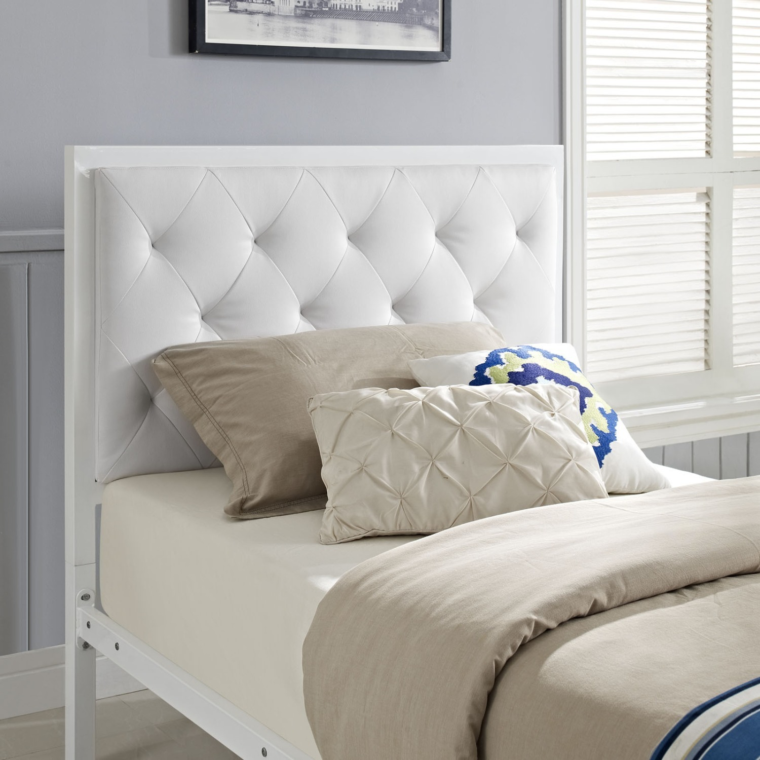 Twin Bed In White Steel Frame & Tufted Headboard - image-5