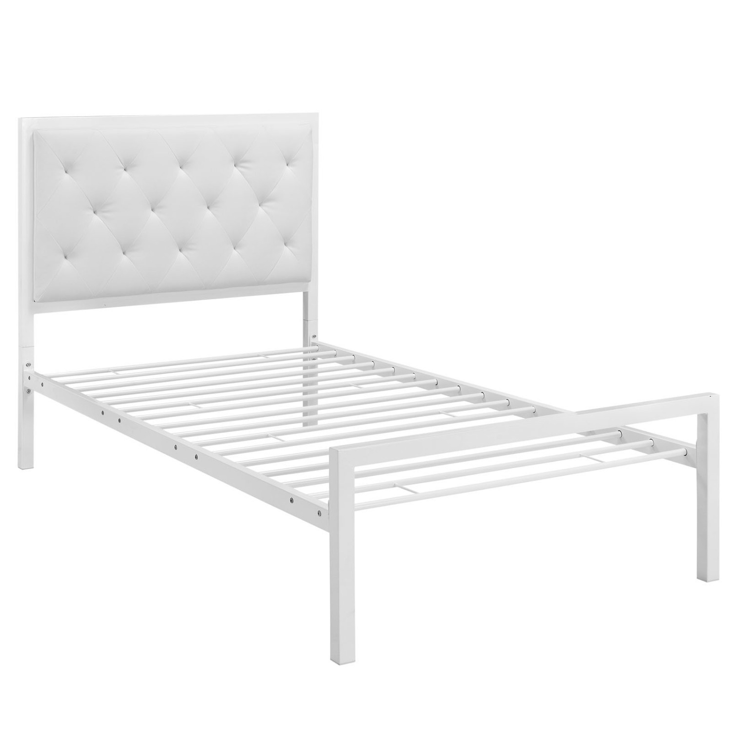 Twin Bed In White Steel Frame & Tufted Headboard - image-3
