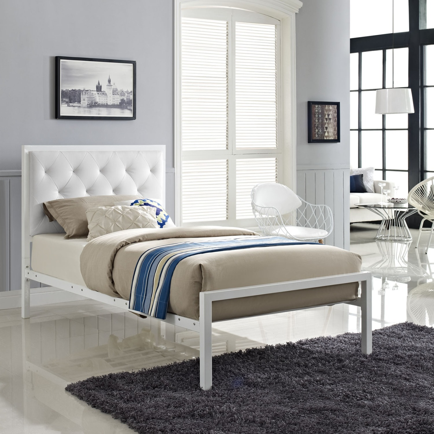 Twin Bed In White Steel Frame & Tufted Headboard - image-6