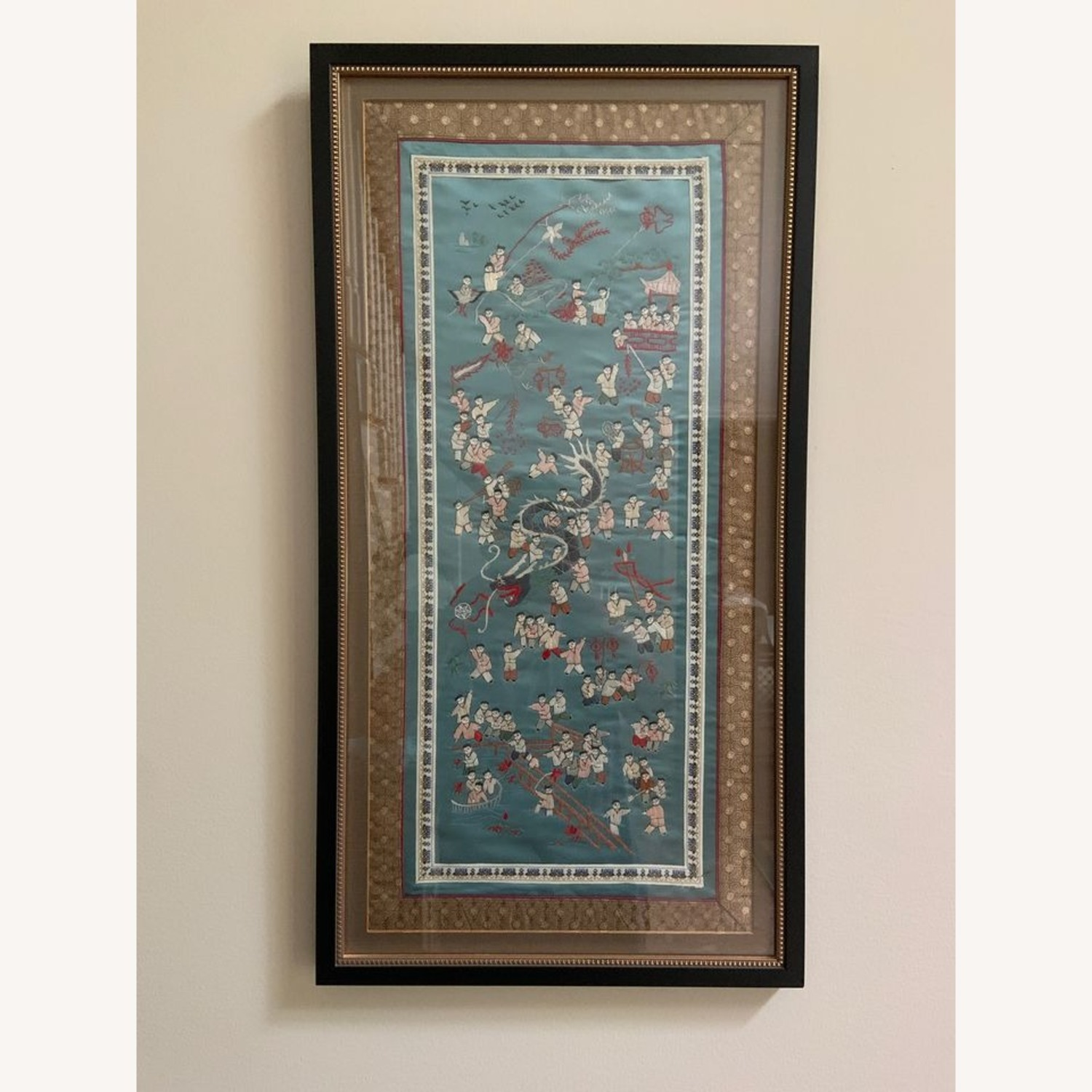 Oriental Woven Tapestry with Custom Frame - image-1