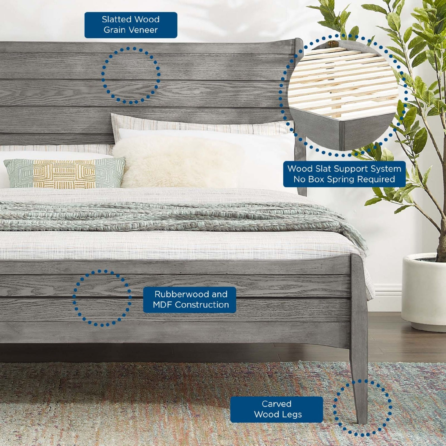 Rustic Queen Platform Bed In Gray Wood Finish - image-6
