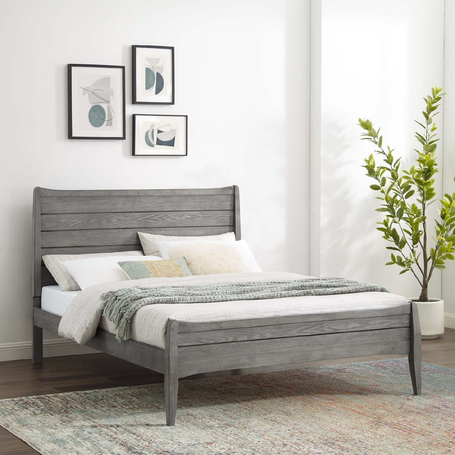 Rustic Queen Platform Bed In Gray Wood Finish - image-7