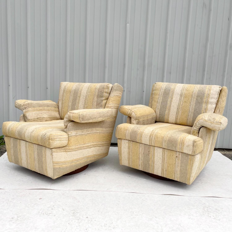 Pair Mid-Century Swivel Lounge Chairs - image-3