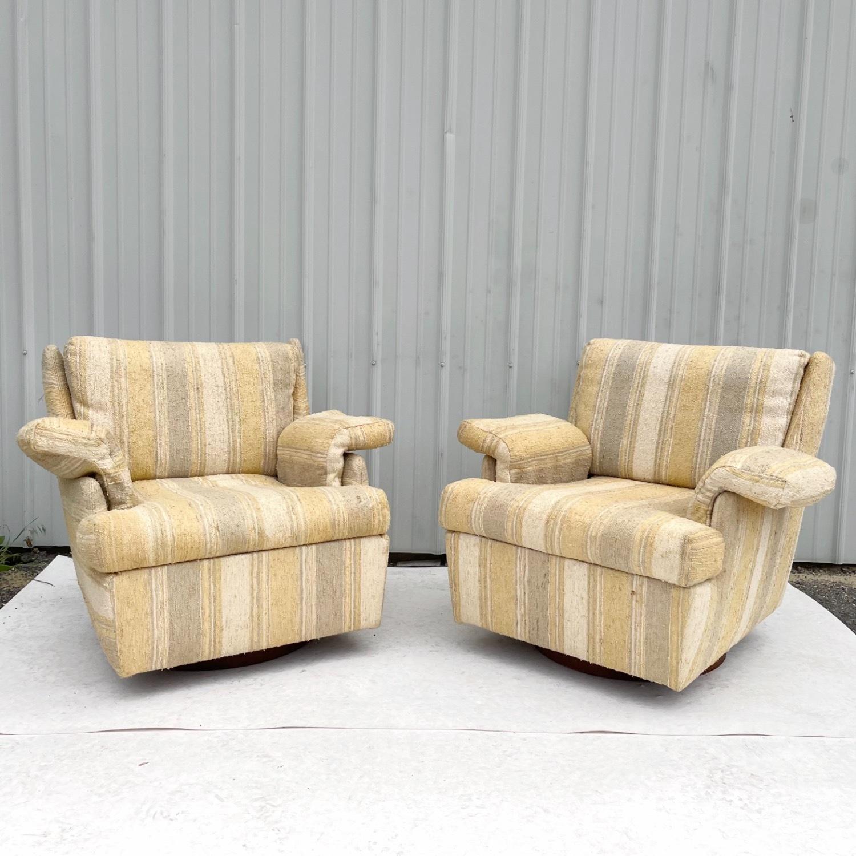 Pair Mid-Century Swivel Lounge Chairs - image-0
