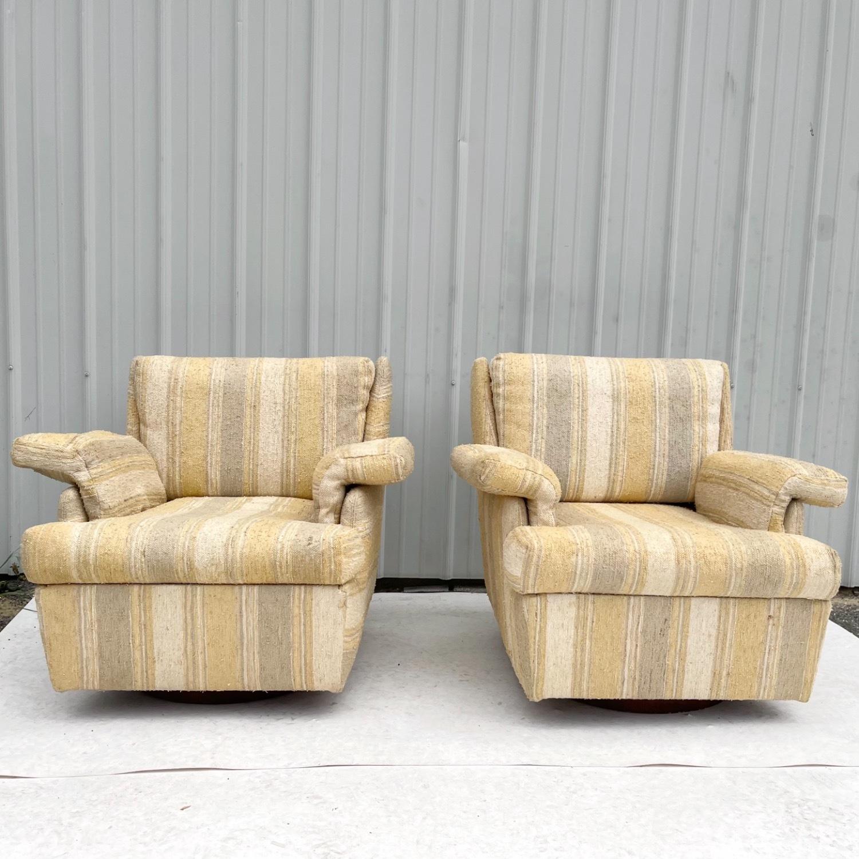 Pair Mid-Century Swivel Lounge Chairs - image-1