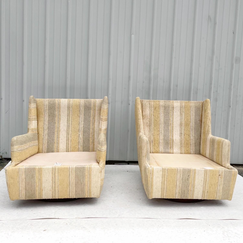 Pair Mid-Century Swivel Lounge Chairs - image-2