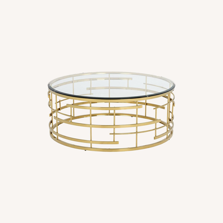 Sunpan Cielo Round Glass Coffee Table - image-0