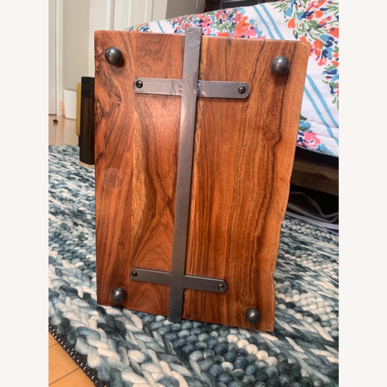 2-Tear Wood & Marble Server with Metal Handle - image-5