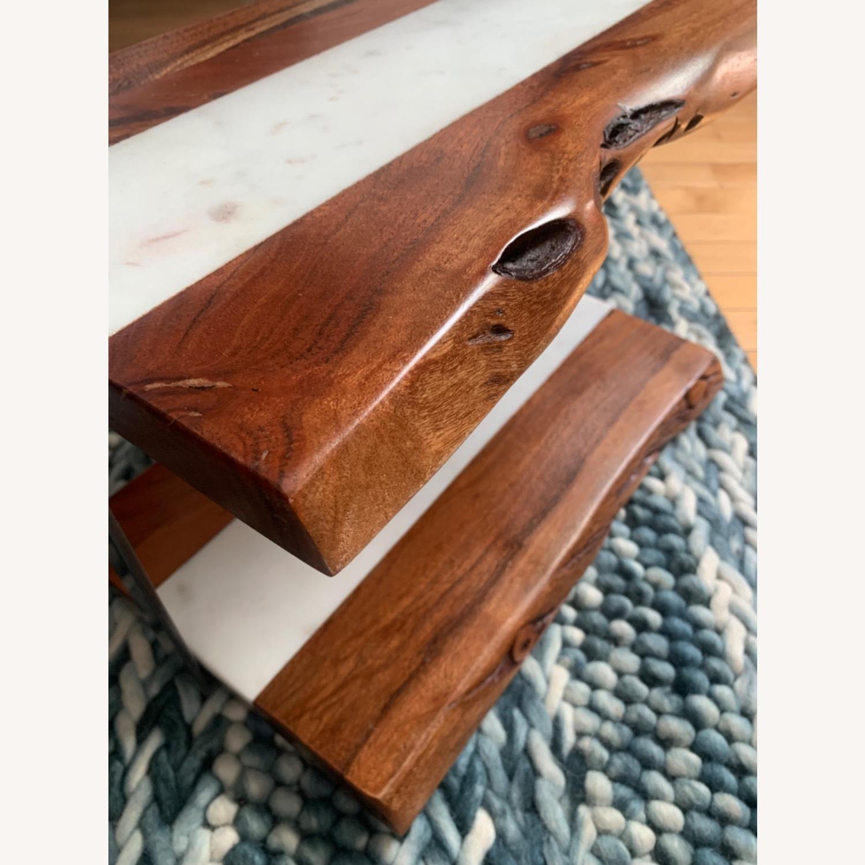 2-Tear Wood & Marble Server with Metal Handle - image-3