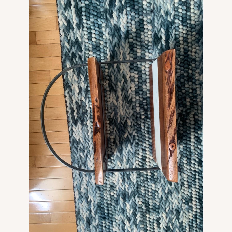 2-Tear Wood & Marble Server with Metal Handle - image-6