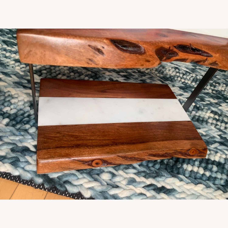 2-Tear Wood & Marble Server with Metal Handle - image-7