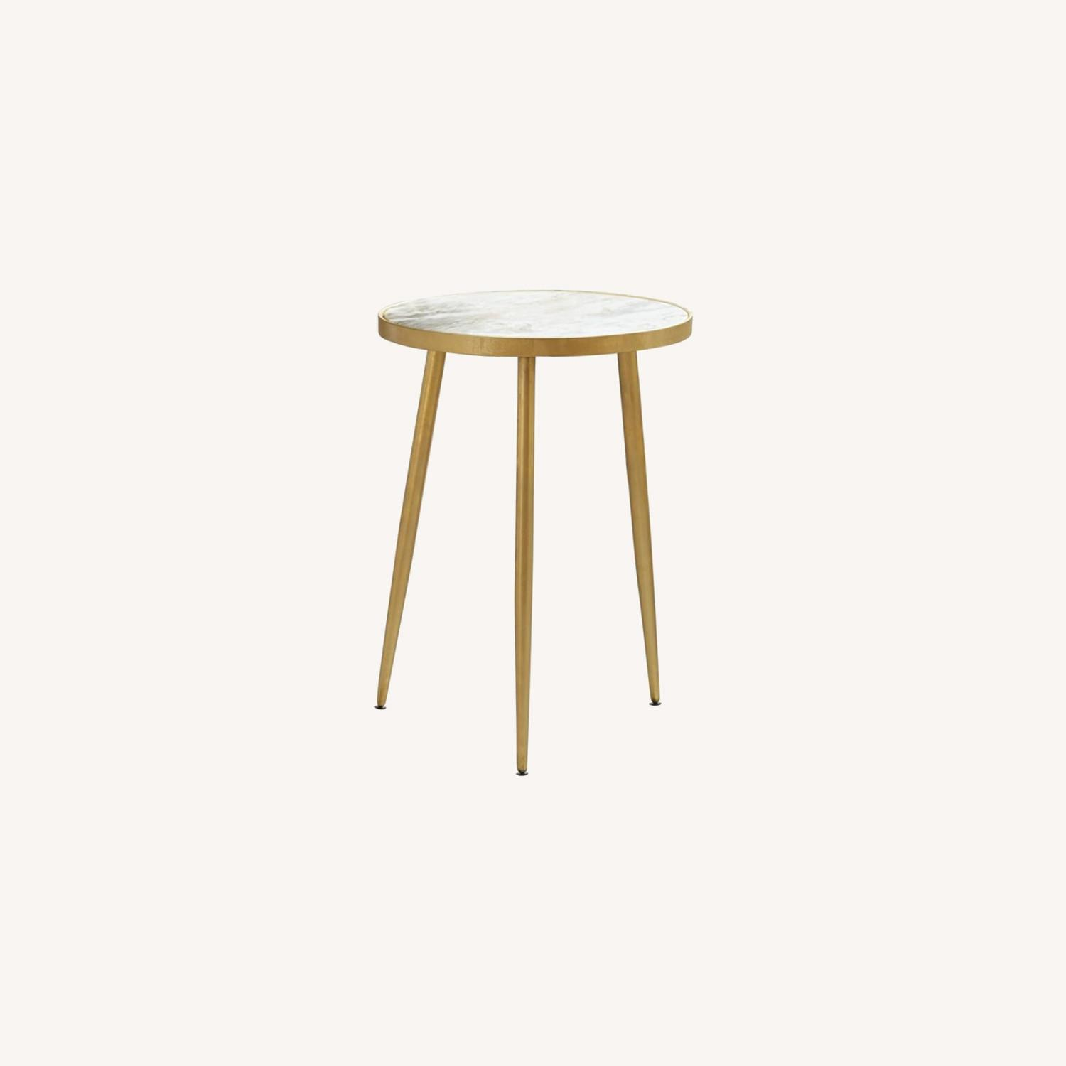 Accent Table In White Marble Top & Gold Finish - image-4