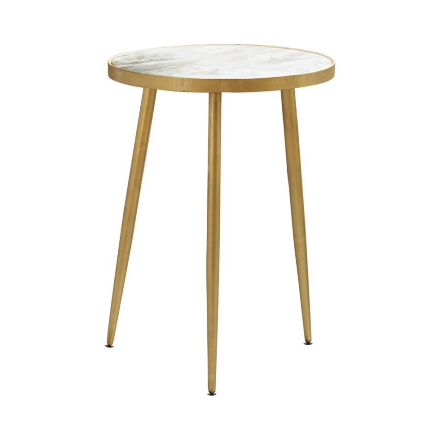 Accent Table In White Marble Top & Gold Finish - image-0