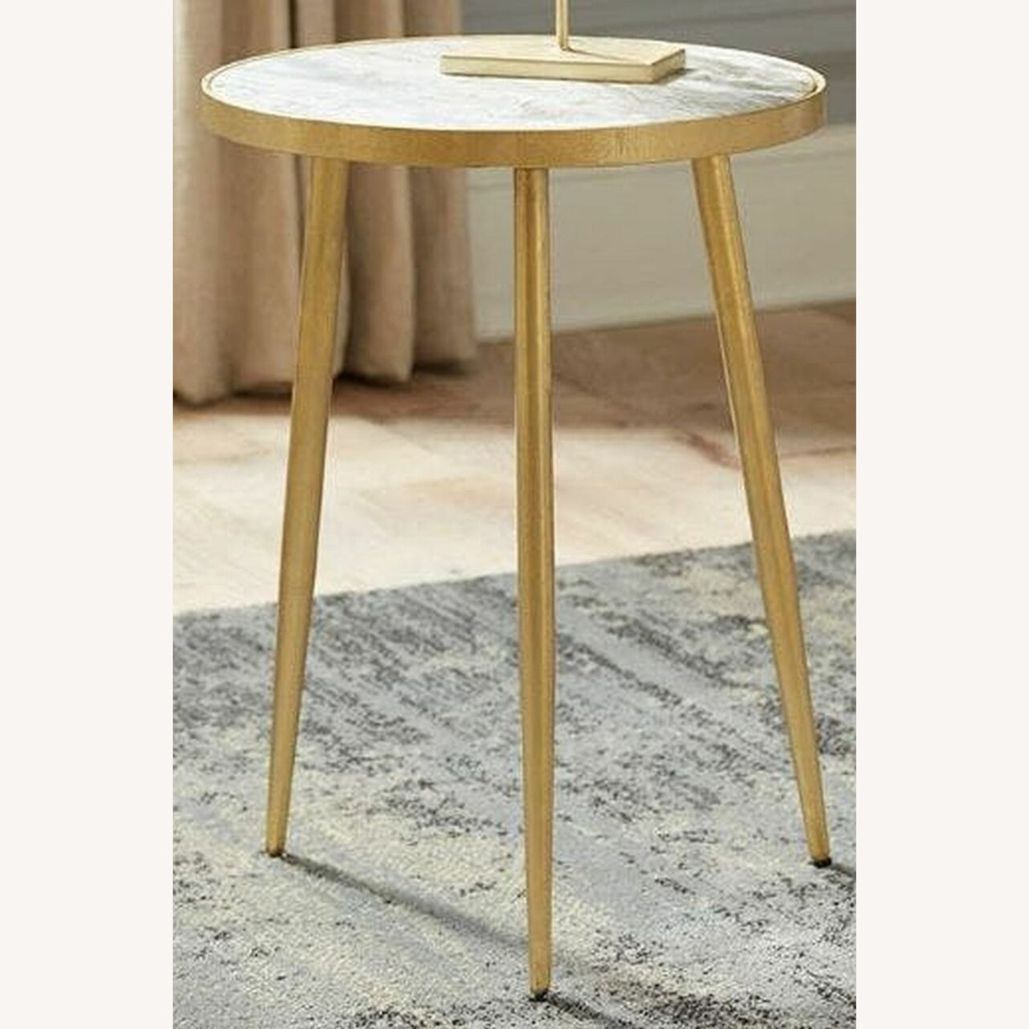 Accent Table In White Marble Top & Gold Finish - image-1