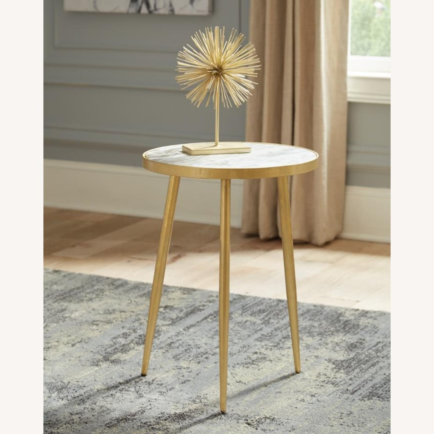 Accent Table In White Marble Top & Gold Finish - image-2