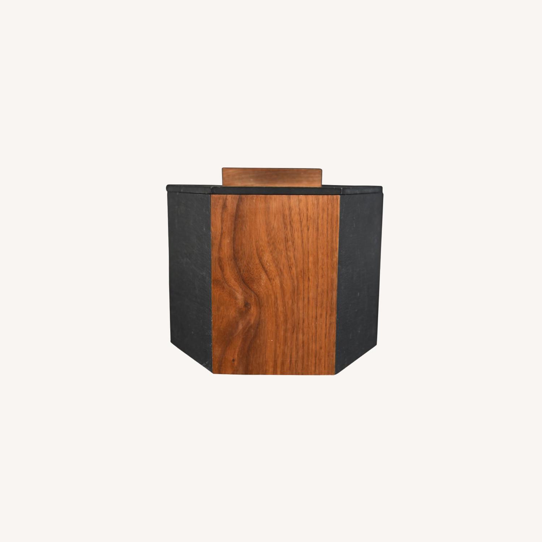 Midcentury Walnut Slate Ice Bucket Harpswell House - image-0