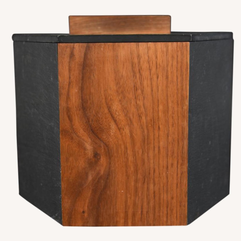Midcentury Walnut Slate Ice Bucket Harpswell House - image-1