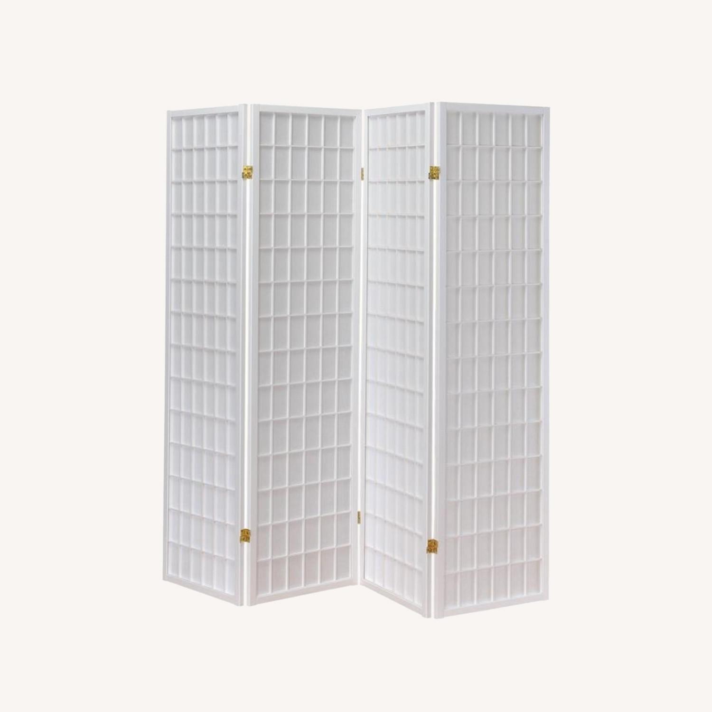 4-Panel Folding Screen In White Wood Finish - image-3