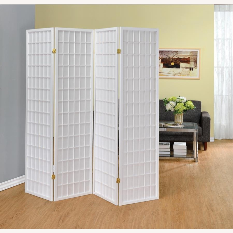 4-Panel Folding Screen In White Wood Finish - image-2