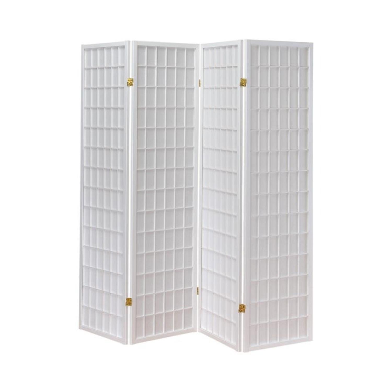 4-Panel Folding Screen In White Wood Finish - image-0