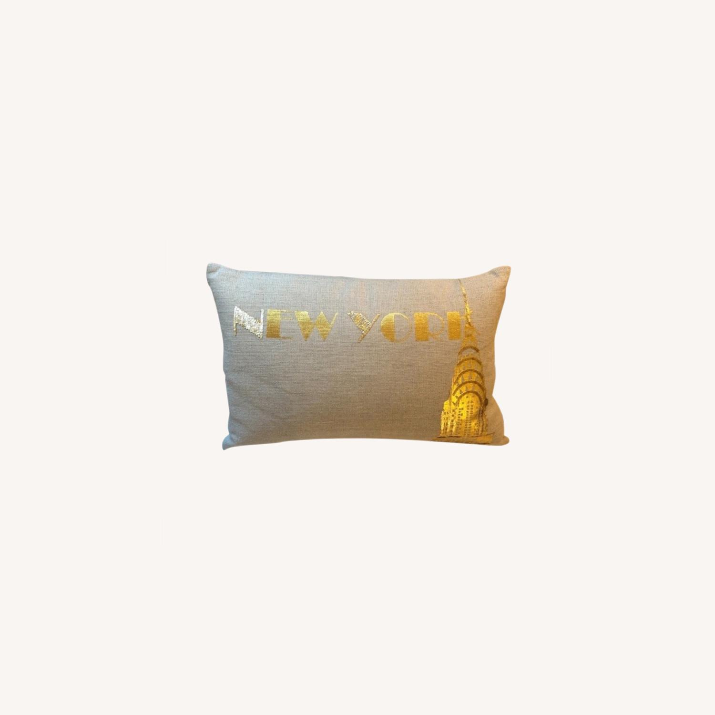 Ankasa Natural Linen & Gold Decorative Pillow - image-0